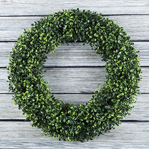 Pure Garden 50-150 Artificial Boxwood 19.5 inch Round Wreath