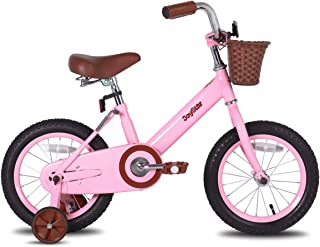 JOYSTAR 14 & 16 Inch Vintage Kids Bike with Basket & Training Wheels for 3-7 Years Old Girls & Boys (Beige & Pink)
