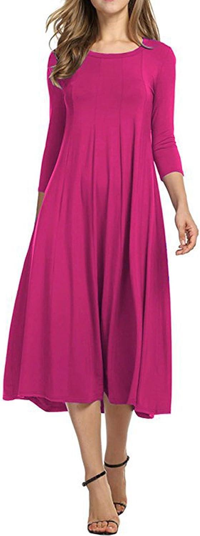Allfennler Women's Casual 3 4 Sleeve Scoop Neck Pleated Loose Swing TShirt Dress
