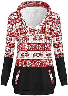 Womens Christmas Printed Hoodies Sweatshirt Xmas Ladies Fashion V-Neck Long Sleeve Tops Jumper Pullover