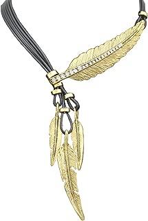 Vintage Indian Big Leaf Feather Charms Lariat Leather Costume Aztec Bib Necklace