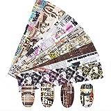 2020 Nuevo 10Pcs 4 * 20cm Starry Newspaper Series Nail Foils Stickers Magazine English Letter Transfer Paper Nail Art Decorations