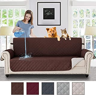 RHF Waterproof Anti-Slip Sofa Cover, Couch Cover, Couch Covers for 3 Cushion Couch, Couch Covers for Sofa, Sofa Covers for Living Room, Couch Covers for Dogs, Couch Protector(Sofa:Chocolate)