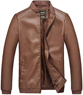 Soft and Close Fashion Men's PU Jacket, Casual Men's Zipper Jacket, Long-Sleeved Jacket Slim wl (Color : Coffee, Size : XL)