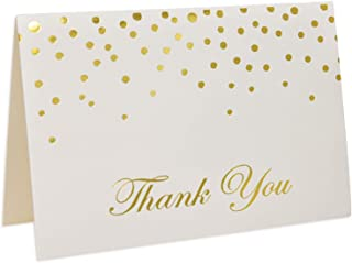 48 Gold Thank You Cards with Envelopes Gold Foil Metallic Dots Bulk Elegant Classy Sparkle Blank for Wedding Baby Shower Bridal Notes Graduation Engagement Birthday