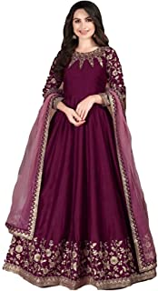 Adda Silk Weeding Indian Embroidery Long Anarkali Suit Muslim Dress 女性が着る 5186