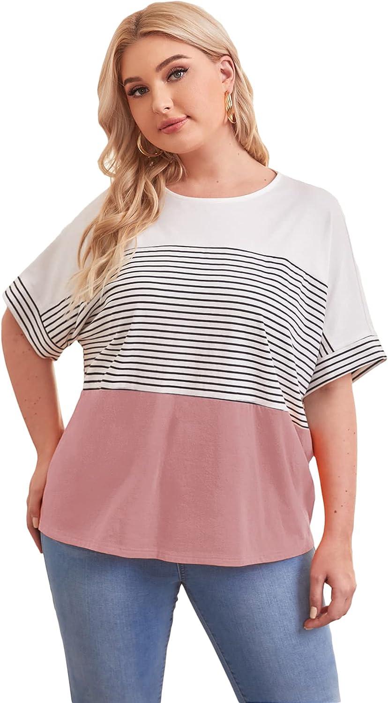 Romwe Women's Plus Size Batwing Short Sleeve Striped Color Block Oversized T Shirt Tee Tops