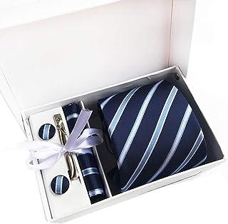 Gemelos y Clip para Corbata Plateada 6 Piezas Corbatas de Hombre Regalo Conjunto Set de Corbata Hombre de Seda Pa/ñuelo con Bufanda para Negocios Bodas Fiestas y Citas Conjunto de Corbata Hombre