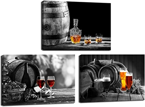 Amazon Com Nachic Wall 3 Piece Kitchen Wall Art Whisky Beer Wine Pictures Canvas Prints For Dining Room Bar Decoration Still Life Painting Modern Western Wall Decor Framed Ready To Hang Posters