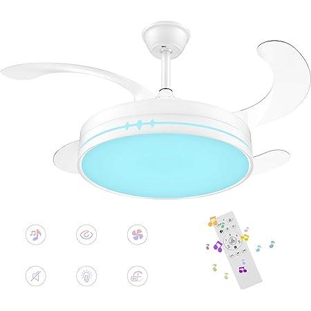 Horevo Ventilateur de plafond Réversible 36W avec Bluetooth Haut-parleur, moderne Lampe LED Variateur avec Télécommande, 4 Pales, 3 Vitesses, Changement de Couleur - Pâle Blanc