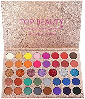 39 Bright Colour Eyeshadow Palette Matte and Shimmer Blending Eye Shadow Glitter Metallic Waterproof Smooth Powder Natural Brilliant Artist Eye Makeup Palettes