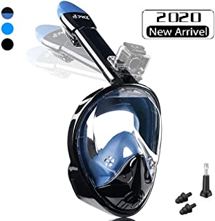 PHZ. Full Face Snorkel Mask Snorkeling Mask 180 Panoramic Anti Fog Anti Leak Detachable Dive Mask Advanced Safety Breathing System for Adult and Kids