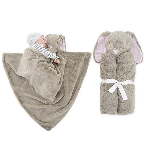 Vine Couverture de bébé ultra douce avec capuche et animal en peluche 76x76cm(lapins Brown)