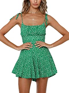 Womens Floral Wide Leg Rompers Spaghetti Strap Tie Ruffle...