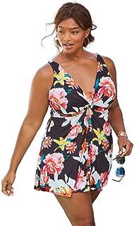 5f7bba0e023 Woman Within Plus Size Twist Front Swimdress