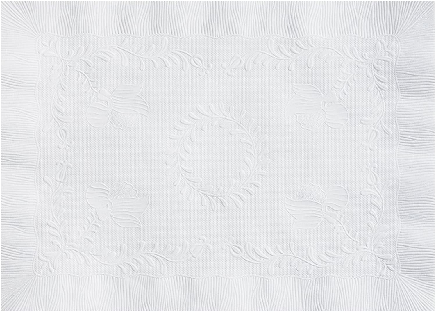 Hoffmaster PM30659 Placemat, Anniversary Emboss with Straight Edge, Square Corner, 10  x 14 , White (Pack of 1000)