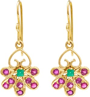 Gehna Yellow Gold, Emerald and Ruby Drop Earrings for Women