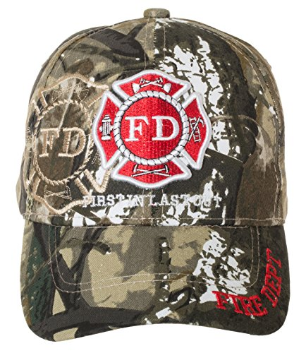 Fire Department First in Last Out Cap - Firefighter Gift -100% Cotton Embroidered Hat (Camo)