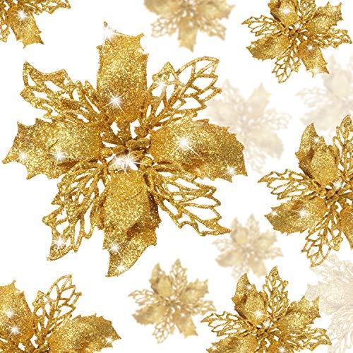 Boao 24 Pezzi Fiori di Natale Poinsettia Glitter Fiori di Natale Artificiali Decorazioni Matrimonio Albero di Natale Ornamenti di Capodanno (Oro)