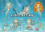 12 Einladungskarten'MEERJUNGFRAU' (Set 1) / Geburtstagseinladungen Mädchen Kinder: 12-er Set Einladungen für den Mädchen Kindergeburtstag/Pool-Party/Schwimmen von EDITION COLIBRI (10964)