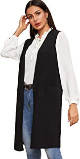 SheIn Women's Sleeveless Long Vests Coat Open Front Cardigan Outerwear with Pockets