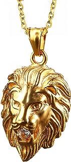 León Jewelry Lion Head Roar Rhinestone Cool Street Hip Hop Details Craftsmanship Gold Stainless Steel Pendant Necklace