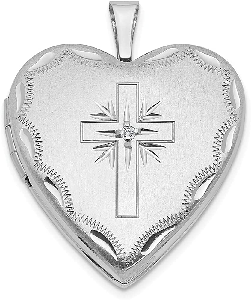 14k White Gold 20mm Diamond Cross Religious Heart Photo Pendant Charm Locket Chain Necklace That Holds Pictures Fine Jewelry For Women Gifts For Her