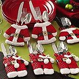 Mbuynow Besteckhalter Weihnachten Tischdeko Tasche 6pcs Set Kleine Weihnachtsmann Kostüm Schneemann Deko (Weihnachtsmann)