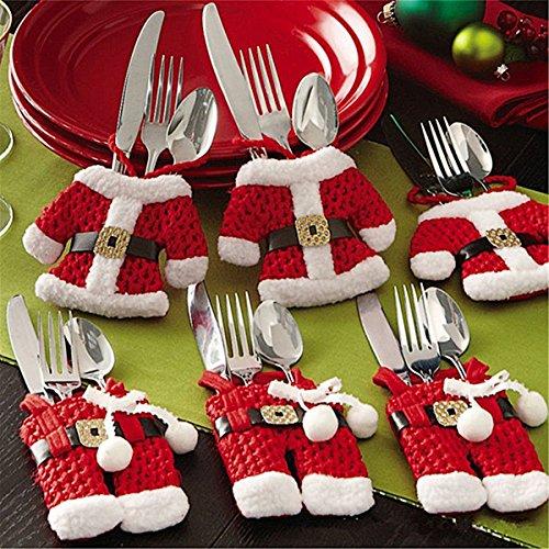 Kranich Besteckhalter Weihnachten Tischdeko Tasche 6pcs Set Kleine Weihnachtsmann Kostüm Schneemann Deko (Weihnachtsmann)