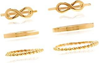 Set of 6 Rings Young /& Forever Girls Valentine Elite Collection Gold Plated Midi Rings /&