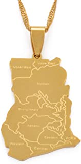 Best Quality - Pendant Necklaces - Gold Color Ghana Map Pendant Necklaces Charm Jewelry Ghanaian Patriotic Gift Stainless Steel Accessories #007521 - by LTH12-1 PCs