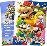 Super Mario Inviti Compleanno Bambini, 16 Inglese Inviti Battesimo con Buste Biglietti Cartoline per Bambini, Ragazze Festa di Compleanno e Baby Shower