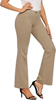 FIRST WAY Women's 30''/32''/34'' Inseam Tall Bootcut Dress Pant for Office Work Stretchy Wide Leg Flared Curvy Fit Pants