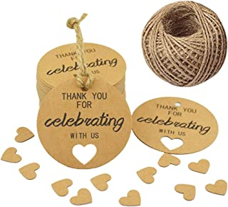 Paper Gift Tags,Thank You for Celebrating with Us Tags,Kraft Thank You Tags for Wedding Party Favors,100 PCS/2