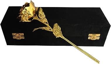 INTERNATIONAL GIFT Gold Rose 25 cm and Black Box (25 cm, Gold)