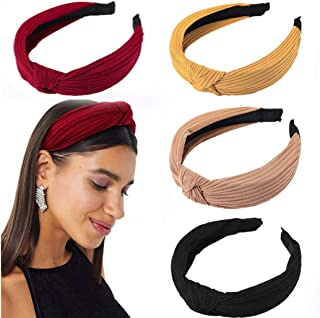 Yean Turban Twist Headbands Wide Knotted Hair Hoop Hair Accessories for Women and Girls Yoga Travel Sport 4Pcs