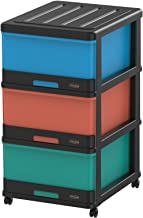 Cosmoplast 3 Drawer Storage Cabinet with Wheel - Black