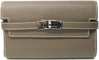 [エルメス] HERMES ケリーウォレット?コンパクト 二つ折財布 財布 エトープ(シルバー金具) ヴォーエプソン [中古]