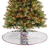 Homesonne Falda rústica para árbol de Navidad con diseño de alfabeto con mariposas y letras, decorac...