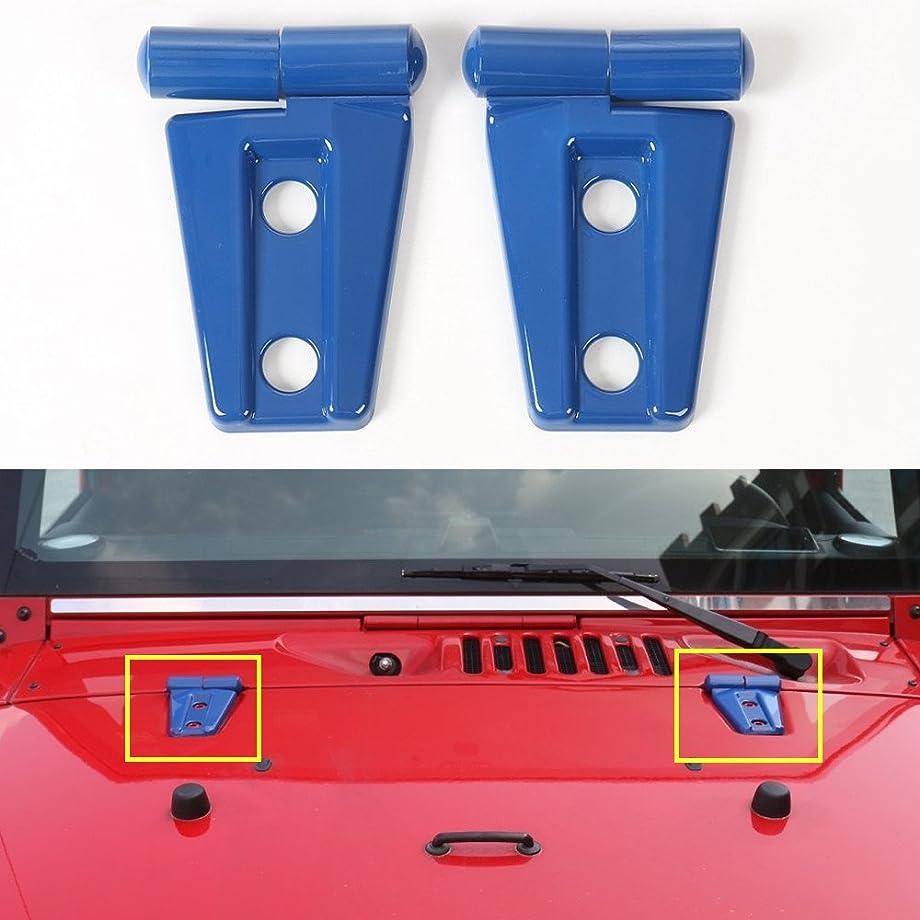 AVOMAR 2Pcs ABS Engine Hood Hinge Cover for 2007-2017 Jeep Wrangler (Blue)