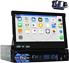 Backup Camera + 2GB 7'' Single Din Android 6.0 Car DVD Player Work with Bluetooth GPS Navigation Car Stereo Radio Receiver Detechable Panel Pop-Out Touch Screen with WiFi Subwoofer Audio/Video Output