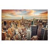 Feeby Frames, Cuadro en Lienzo, Cuadro impresión, Cuadro decoración, Canvas 80x120 cm, New York, Puesta del Sol, Anaranjada, Azul, Blanco