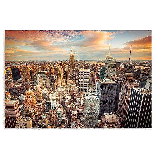 Feeby Frames, Quadro Pannelli, Pannello Singolo, Quadro su Tela, Stampa Artistica, Canvas 70x100 cm, New York, Tramonto, Arancione, Azzurro, Bianco