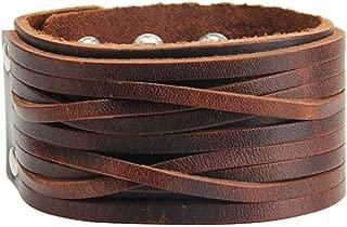 Jenia Brown Leather Bracelet Mens Cuff Bracelets Wrappend Bangle Handmade Braided Wristband Punk Jewelry for Boys, Kids, Women, Girls