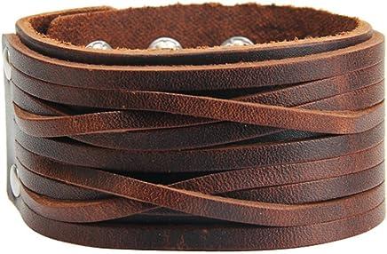 Jenia Genuine Leather Cuff Bracelet Punk Braided Bracelets Rock Leather Wristbands Adjustable Belt Wrap Bracelet Handmade Jewelry for Men, Boy, Kids, Biker, Women