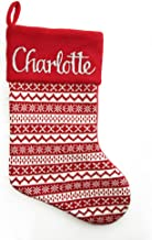The Christmas Cart Personalised Gifts & Keepsakes Personalised Red Knitted Christmas Stocking, Nordic Christmas Décor to D...