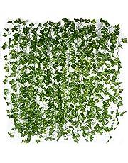 12 st. konstgjorda murgröna-girlanger (varje är ca 2 m lång), väggdekoration, murgröna-ranka. murgröna-girlang, murgröna-buske, konstgjord växt för bröllop, fest, trädgård, lägenhet, dekoration, ranka, växt