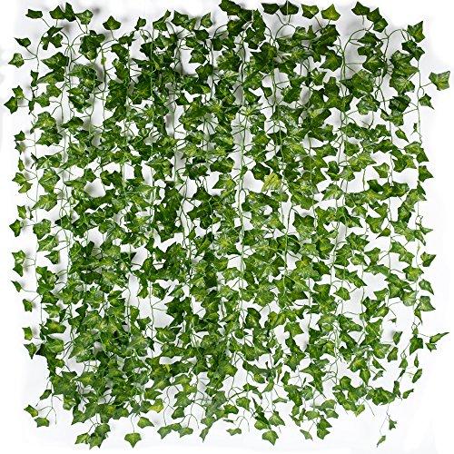 12pcs Plantas Hiedra Hojas de Vid Artificial Guirnalda Plantas Decoración Verde Follaje de Seda Hogar Jardín Valla Boda Fiesta Ventana Escalera Exterior 2m/pcs