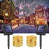 VIMOV Guirnaldas Luces Exterior Solar, 15M 150 LED Luces Solares Led Exterior Jardin Impermeable, 8 Modos Luces de Hadas de Alambre de Cobre, [2 Paquete] Cadena de Luces Solar Exterior para Decoración