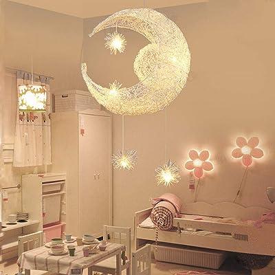 Lámpara de techo con forma de luna y estrellas, LED, aluminio ...